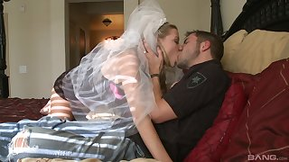 Future bride Nicole Ray enjoys fuck with a stranger on the bed