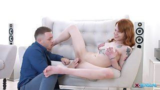 Tattooed red haired Mary Solaris pleases her boyfriend quickly