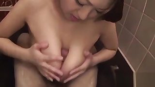 Gripping oriental shower masturbation