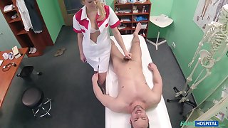 Handsome stud gets his balls drained by a seductive blonde nurse