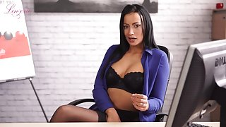 Slutty secretary in stockings and lingerie Kelli Smith shows striptease in the office
