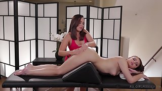 Masseuse Jenna Sativa is making love with beautiful lesbian client