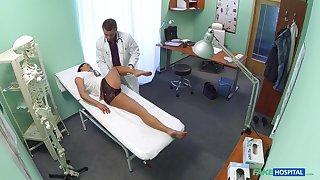 Rim job giving nurse Enny gets penetrated balls deep on the hospital bed