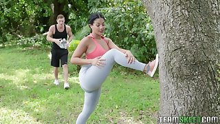 Doing yoga outdoors Kosame Dash seduces dude for some super pleasant fuck