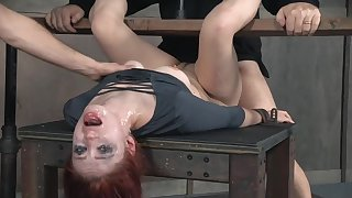 Redhead babe cries from rough face and pussy fucking during BDSM