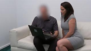 Spanish babe rides agent's cock