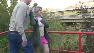 Small tits blonde Sonja M fucked by an older guy in outdoors