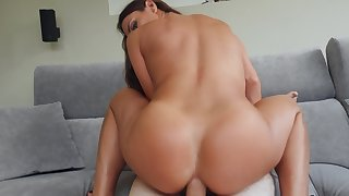Curvy ass beauty rides the full cock with her ass