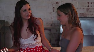 Erotic puss licking on the bed between Kristen Scott and April Snow