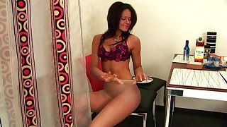 Sexy big breasted amateur tanned bitch plays with her own pussy