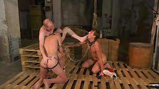 Gay lovers in dirty anal maledom in threesome