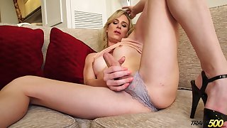 Alone buxom blonde shemale Nikki Vicious just loves wanking herself