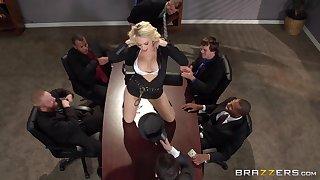 Busty blonde secretary Kagney Lynn Karter fucked on the table