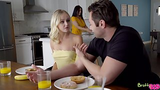Guy's big dong suits the horny blonde first thing in the morning