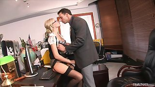 Blonde secretary Dona Bell gets mouth and pussy fucked in the office