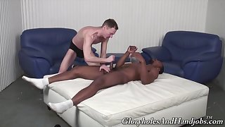 Black gay loves treats himself with a dose of white dong