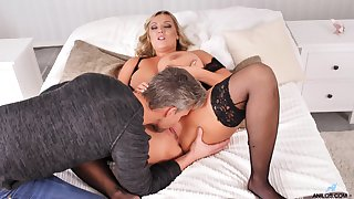 Missionary and doggy style for this chubby mature with huge jugs