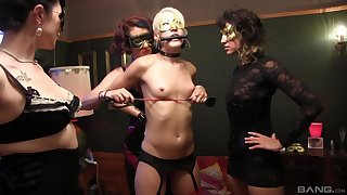 Small tits slut tied up and tortured by dominant babes. HD