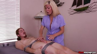 Sexy blonde is intrigued about the guy's total submission