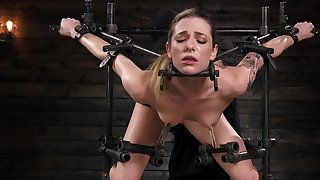 Crazy hardcore BDSM for a clamed blonde with slim forms