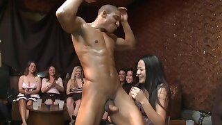 Lucky black stripper gets used by some raunchy white ladies