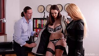 Crazy office threesome with busty models Kyra Hot and Lucie Wilde