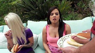 Appealing brunette serves cock like it's candy