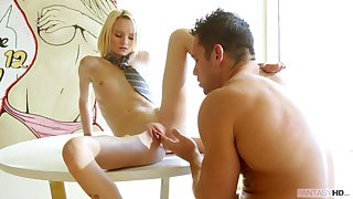 Pretty skinny flaxen-haired teen takes a big cock up the brush pussy. Part 2.