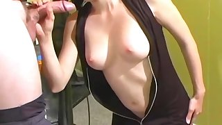 Homemade blowjob and cowgirl ride in the air a of age couple
