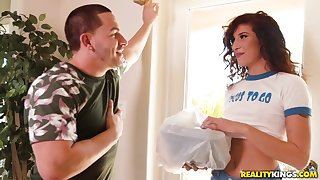 Subfuscous hottie seduces dude into delightful her needs