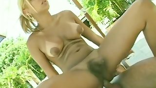 awesome blond ladyboy And A ally Take Turns engulfing, plowing Each Other Outside