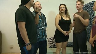 Fat virago Audrey Blue are fucked by several insatiable fellows