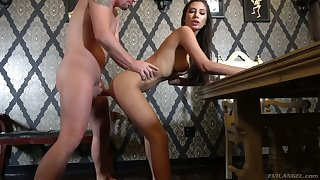 Gorgeous unlit Gianna Dior gives a splendid blowjob and gets her pussy nailed