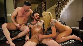 Cute tattooed chick gets wild there two bisexual dudes