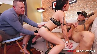 Whore with laving face and small tits Tess X is hammered by two studs