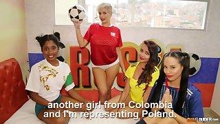 Lusty Colombian hottie Amaranta Hank has appreciated chicks for lesbian 4some