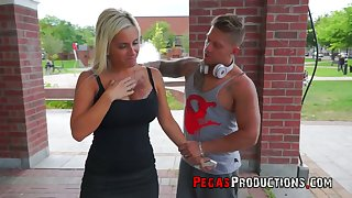 Sexy tanned big breasted blonde lady Pamela Kayne is eager to be poked mish