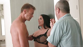 Horny Rocco fucks big titties seductress Angela White right on the kitchen table