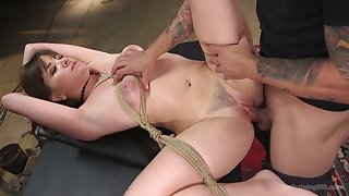 Depraved busty MILF Alison Rey is tied up and fucked missionary hard