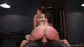 Buxom beauty with nice big booty Mandy Muse is tied up and fucked hard
